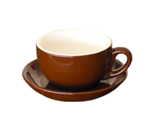 Brown Cappuccino Cup & Saucer Set 210ml